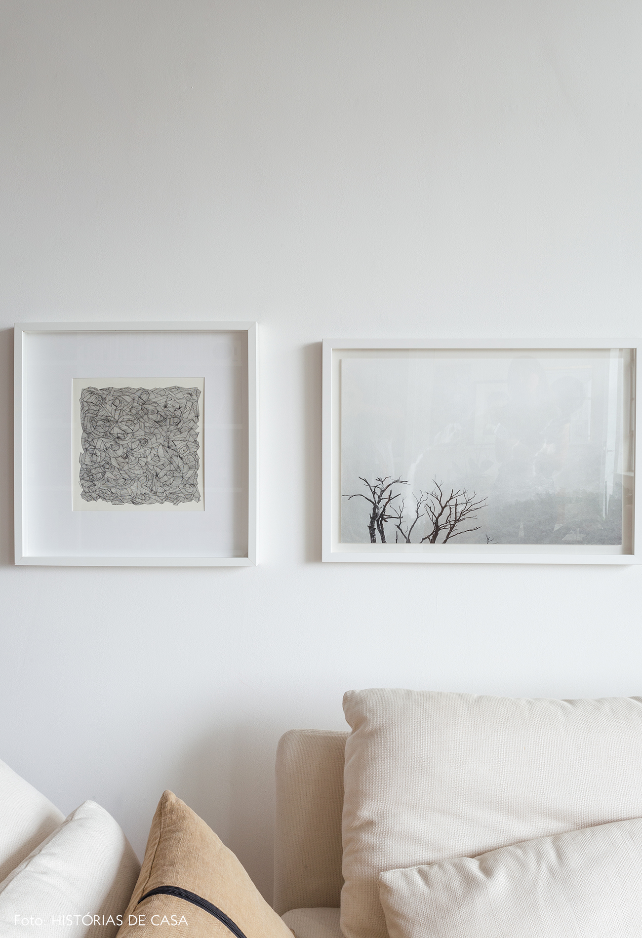 White artwork in a modern gallery wall