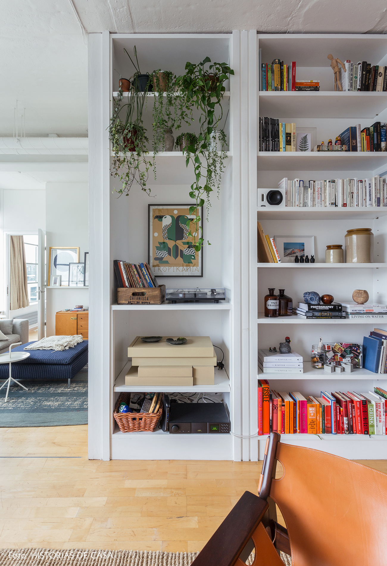 White bookcase in a London apartment
