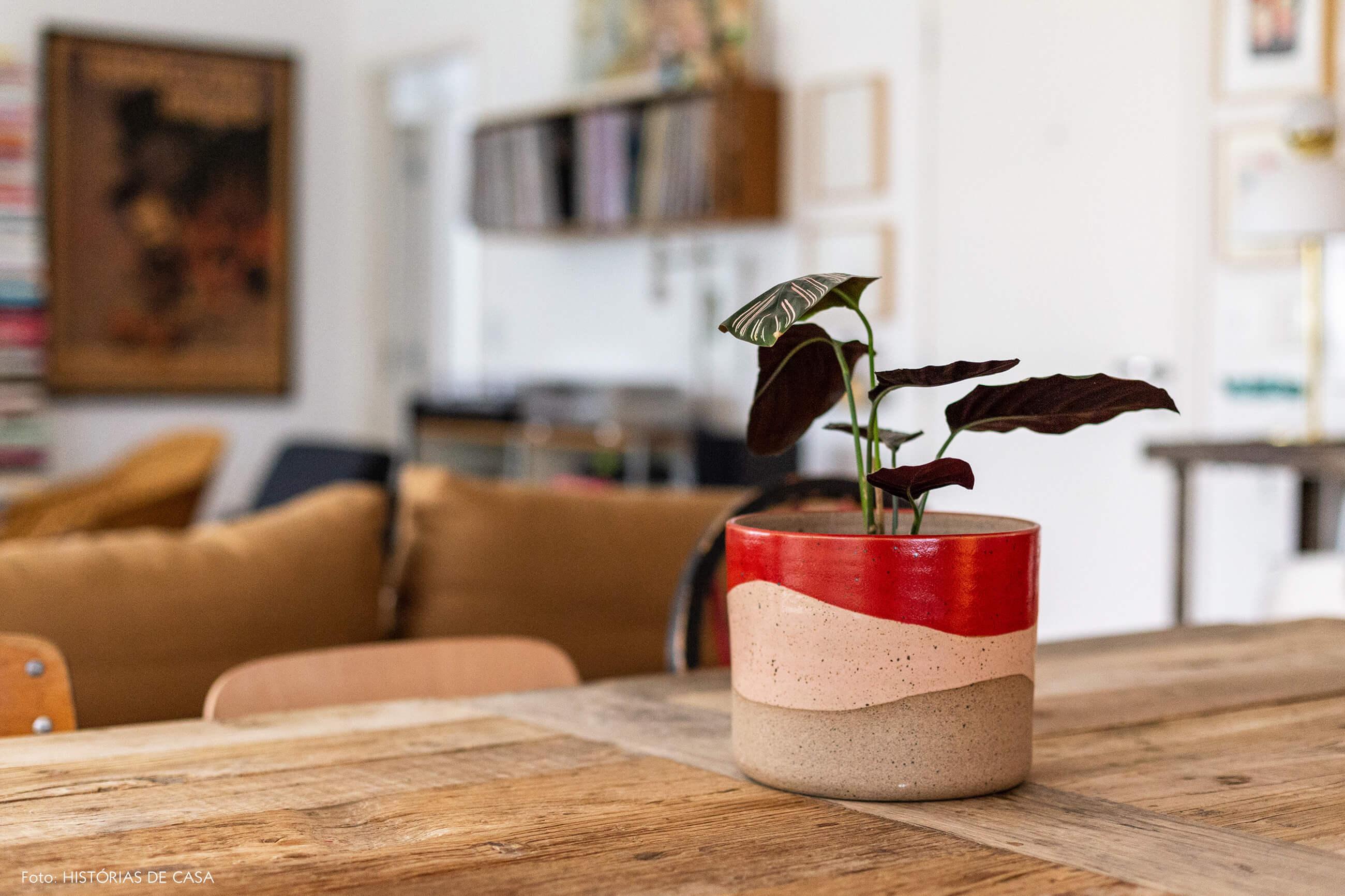 Cachepô de cerâmica com plantas