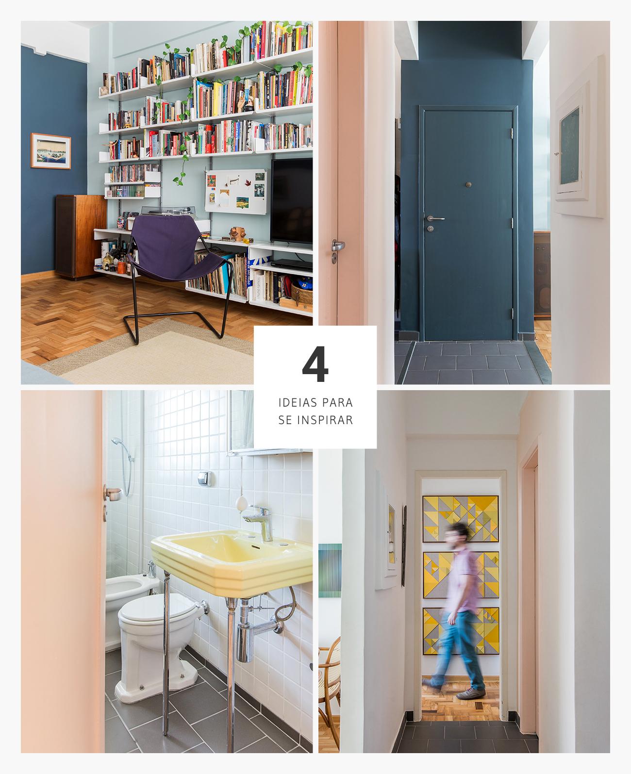 Apartamento com boas ideias sobre paredes coloridas