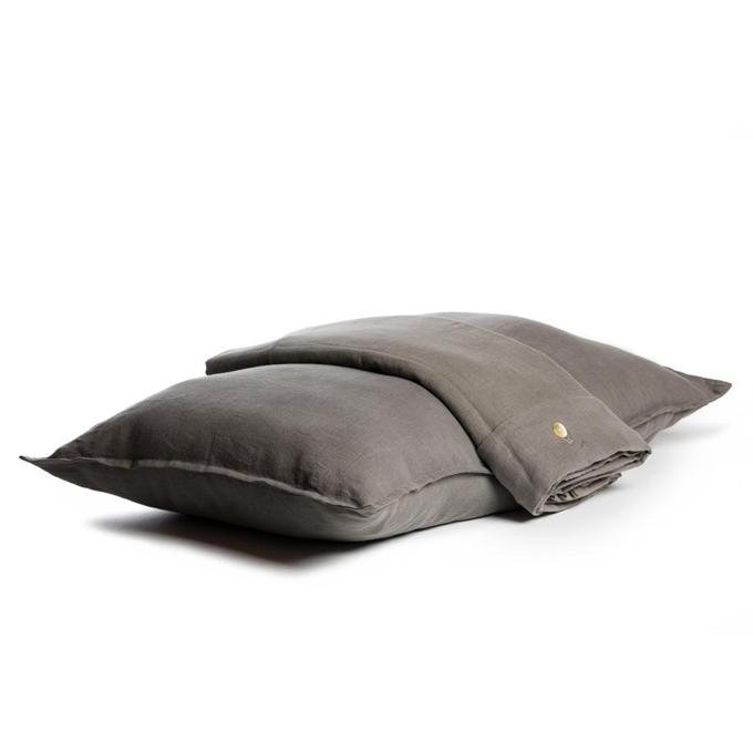 jogo de cama casal linho cinza